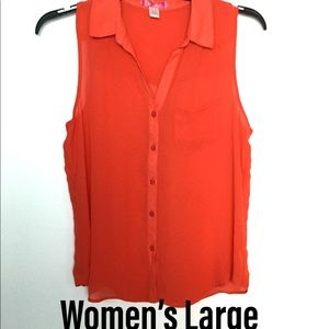 SixDegrees L Sleeveless Blouse Top Shirt Orange